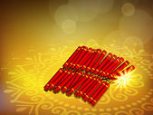 Beautiful illuminating fire crackers background for Hindu commun — Stock Vector