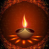 Beautiful illuminating Diya background for Hindu community festi — Cтоковый вектор