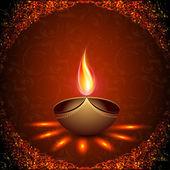 Mooie verhelderend diya achtergrond voor hindoegemeenschap festi — Stockvector
