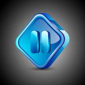 глянцевый web 2.0 музыка значок, кнопку паузы. eps 10. — Cтоковый вектор