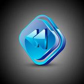 Glanzend web 2.0 muziek pictogram, vorige of terugspoelen knop. eps 10. — Stockvector