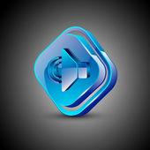Glansig 3d web 2.0 ljud ikonen symboluppsättning. eps 10. — Stockvektor