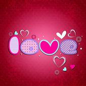 Beautiful valentine background with creative text love. EPS 10. — Cтоковый вектор