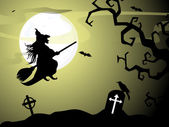 Halloween witch flying on broomstick, scary Halloween background — Stock Vector