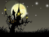 Halloween full moon night background with haunted house and dead — Stock Vector