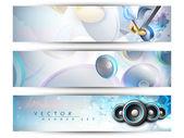 Musical website header or banner set. EPS 10. — Stock Vector
