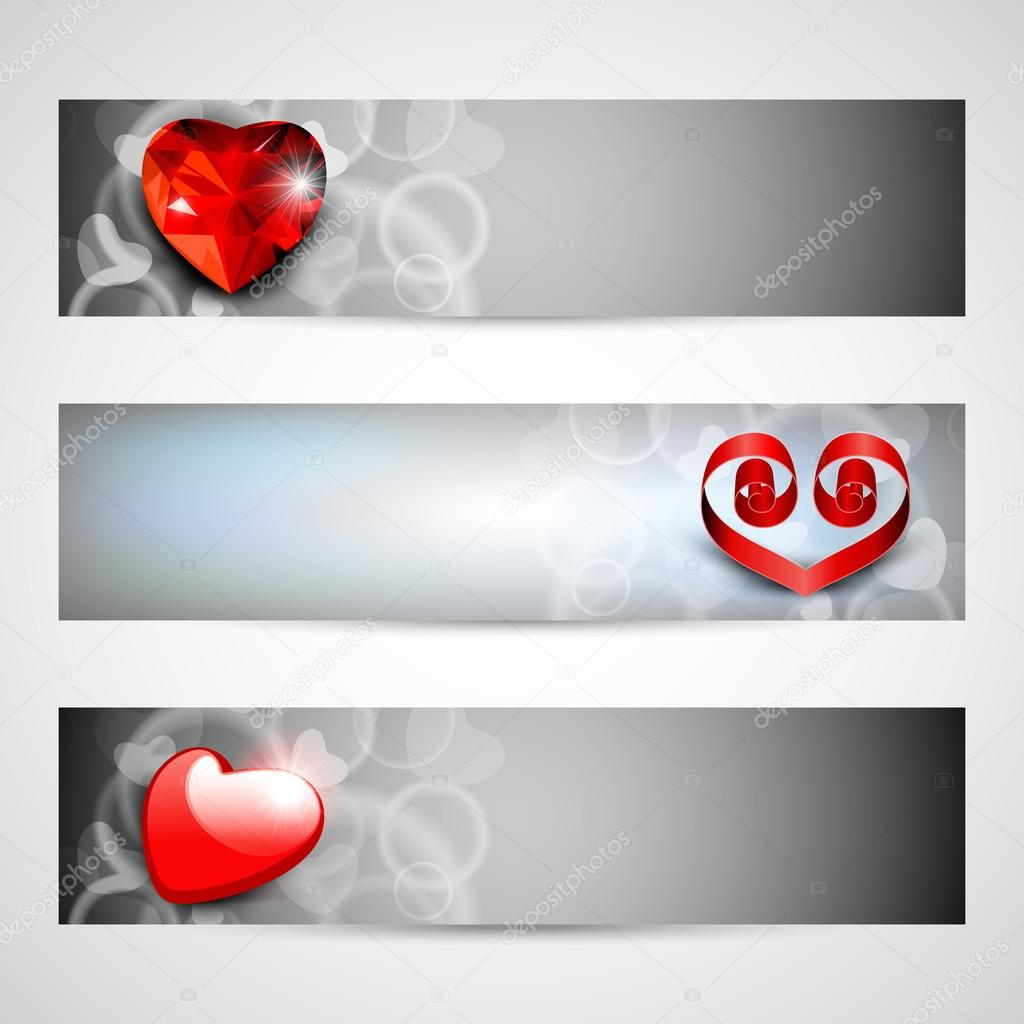 Website headers or banners with love concept. EPS 10. — Stock Vector #12447515