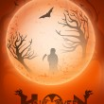 Scary Halloween full moon night background. EPS 10. — Stock Vector #12458877