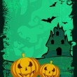 Grungy scary Halloween background with  flying bats, haunted hou — Stock Vector