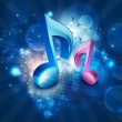 3D musical notes on shiny blue background. EPS 10. — Imagens vectoriais em stock