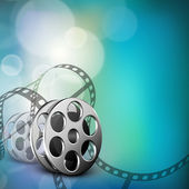 Film stripe or film reel on shiny movie background. EPS 10 — 图库矢量图片
