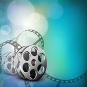 Film stripe or film reel on shiny movie background. EPS 10 — Stock Vector