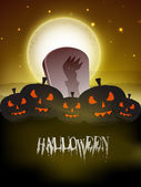 Grungy scary full moon night Halloween background. EPS 10. — Stock Vector