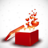 Red hearts coming out from gift box. EPS 10. — Vector de stock