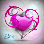 Pink valentine heart with floral creative artwork. EPS 10. — Stock Vector