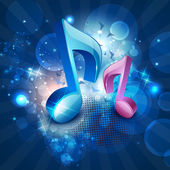 3D musical notes on shiny blue background. EPS 10. — Vector de stock