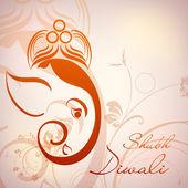Illustration of Hindu Lord Ganesha with floral decorative artwor — Stock Vector