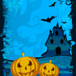 Scary pumpkins on shiny Halloween background. EPS 10. — Stock Vector #12655476