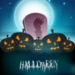 Scary pumpkins on shiny Halloween background. EPS 10. - Stok Vektör