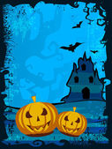 Scary pumpkins on shiny Halloween background. EPS 10. — Stock Vector
