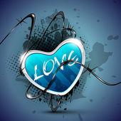 Güzel parlak sevgililer kalp şeffaflık etkisi, isol — Stok Vektör