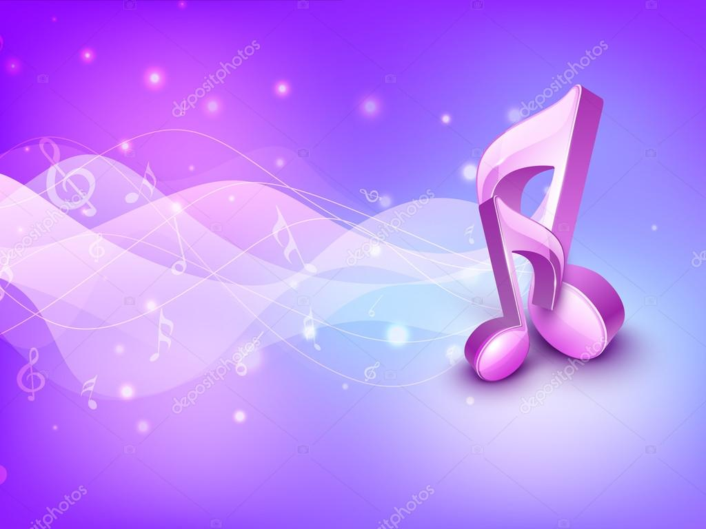 3d Colorful Music Notes Wallpaper: 3D Musical Notes On Shiny Background. EPS 10.