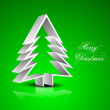 Christmas greeting or gift card with 3D Xmas tree on green backg — Stock Vector