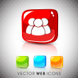 Stock Vector: Glossy 3D web 2.0 web users symbol icon set. EPS 10.