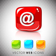 Stock Vector: Glossy 3D web 2.0 email address 'at' symbol icon set. EPS 10.