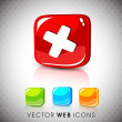 Glossy 3D web 2.0 cross mark validation symbol icon set. EPS 10. - Stock Vector