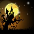 Halloween night background with scary pumpkin. EPS 10. — Stock Vector #12858166