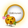 Halloween night background with scary pumpkin. EPS 10. — Stock Vector