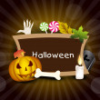 Halloween night background with scary pumpkin. EPS 10. — Stock Vector #12858649