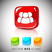 Glossy 3D web 2.0 web users symbol icon set. EPS 10. — Stock Vector