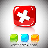 Glossy 3D web 2.0 cross mark validation symbol icon set. EPS 10. — Stock Vector