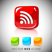 Glossy 3D web 2.0 rss feed symbol icon set. EPS 10. — Stock Vector
