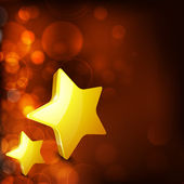 Noel kartı veya altın yıldız ile arka plan. kar taneleri ve li — Stok Vektör
