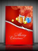 Tarjeta de navidad o de fondo con las cajas de regalo, bola de eva y luz — Vector de stock