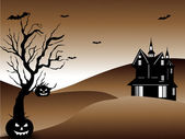 Halloween night background with scary pumpkin. EPS 10. — Wektor stockowy