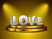 3D love text on golden stage. EPS 10. — Stock Vector