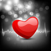 Cardiogram with red heart shape on grey background. EPS 10. — Vecteur