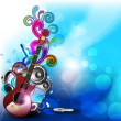 Colorful abstract speakers background with guitar. EPS 10. - Stock Vector