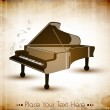 Piano with retro grungy pattern, musical background. EPS 10. — Stock Vector