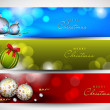 Stock Vector: Merry Christmas website banner set decorated with snowflakes and