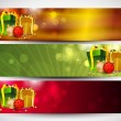 Merry Christmas website banner set decorated with snowflakes and - Stock Vector