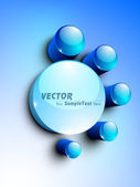 Abstract 3D glossy icon sets in blue color. EPS 10. can be use a — Stock Vector