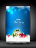 Happy New Year roll up stand banner. EPS 10. — Stock Vector