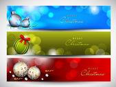 Site de natal feliz banner conjunto decorado com flocos de neve e — Vetorial Stock