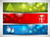 Merry Christmas website banner set decorated with snowflakes and — Stock Vector