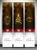 Wesołych świąt bożego narodzenia stronie baner zestaw ozdobiony płatki śniegu i — Wektor stockowy